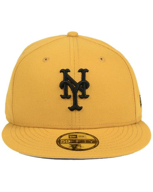 a85813e2f32 ... KTZ - Yellow New York Mets Reverse C-dub 59fifty Fitted Cap for Men ...