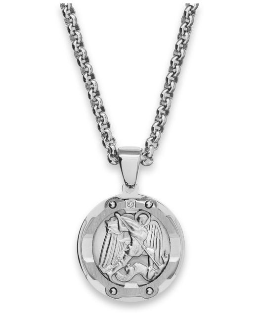 Macy's - Metallic Men's St. Christopher Diamond Pendant Necklace In Stainless Steel - Lyst