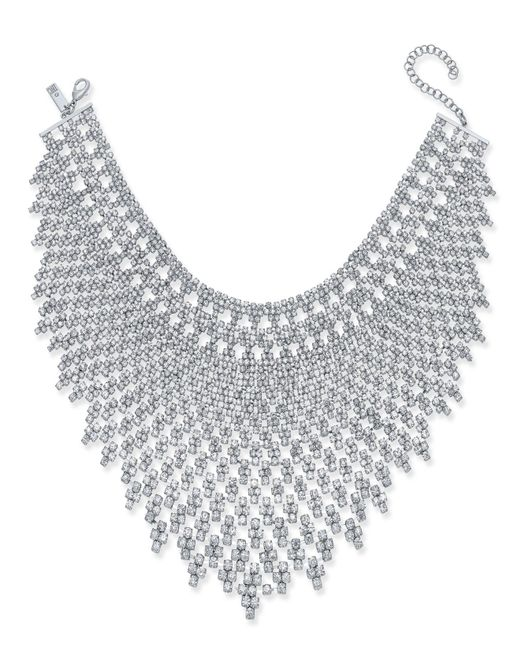 INC International Concepts - Metallic Silver-tone Draped Crystal Choker Necklace - Lyst