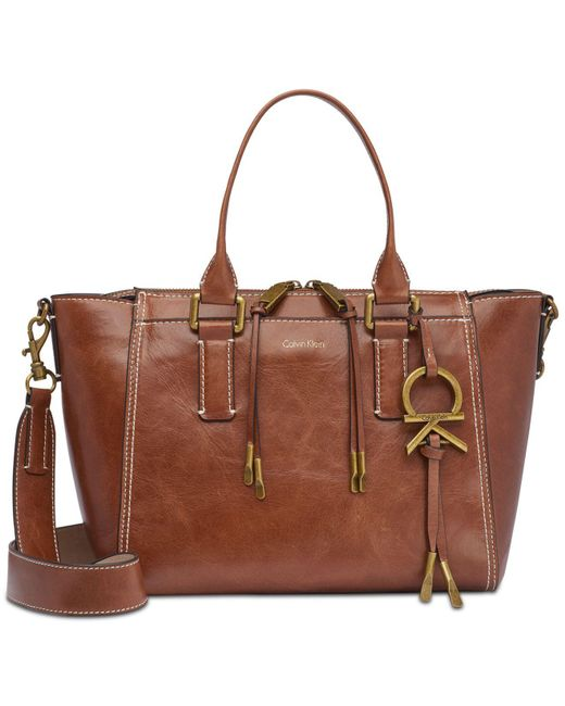 CALVIN KLEIN 205W39NYC - Brown Brynn Leather Small Satchel - Lyst