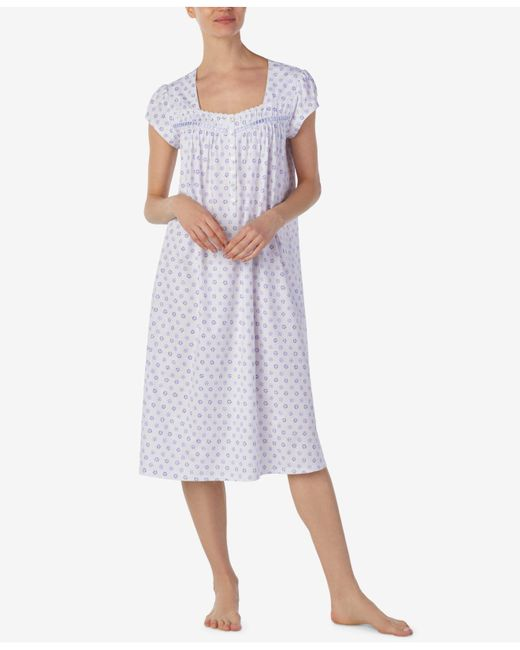 Eileen West - Purple Ballet Floral-print Cotton Knit Nightgown - Lyst