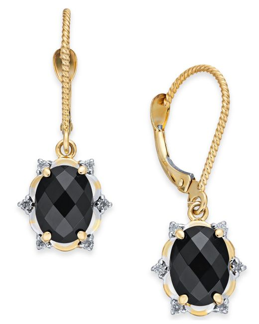 Macy's - Metallic Onyx (8 X 6mm) & Diamond (1/10 Ct. T.w.) Oval Drop Earrings In 14k Gold - Lyst