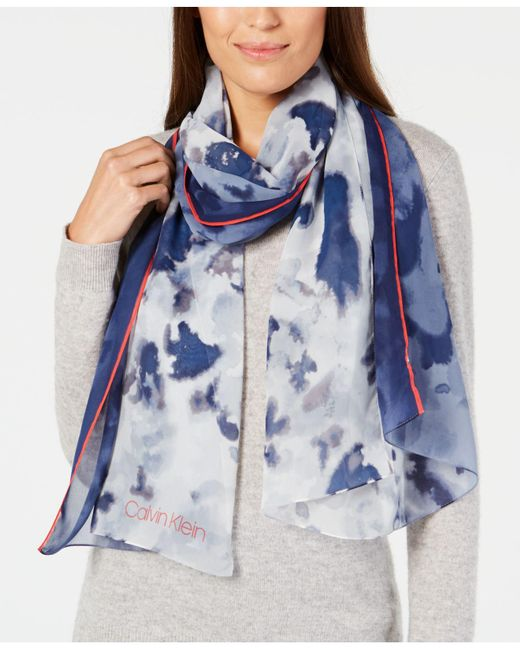 Calvin Klein - Blue Tie Dye Ombré Chiffon Scarf - Lyst