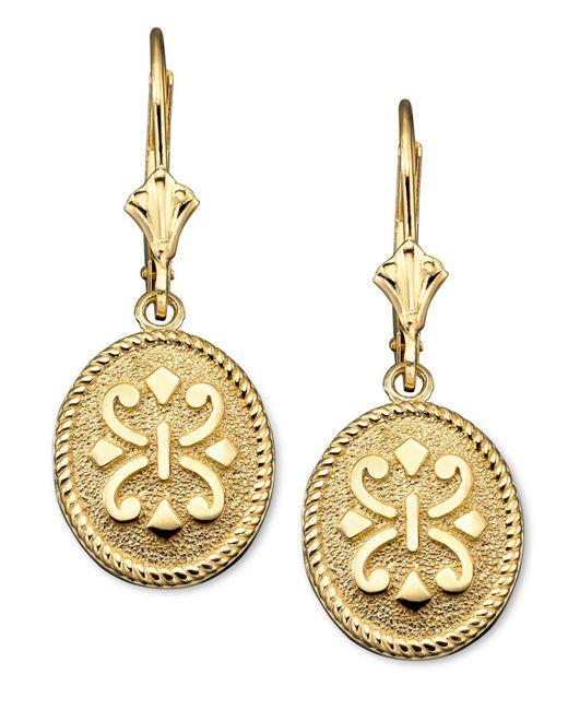 Macy's - Metallic 14k Gold Earrings, Oval - Lyst