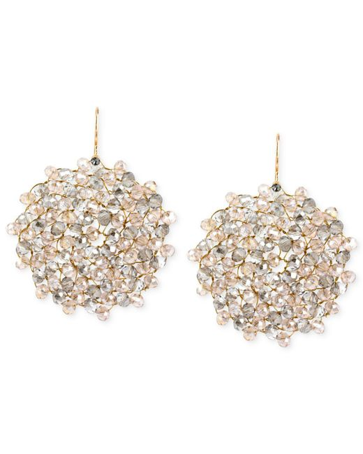 Kenneth Cole - Metallic Jet Faceted Woven Bead Round Drop Earrings - Lyst