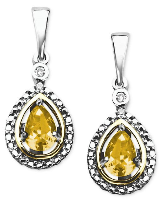 Macy's - Metallic 14k Gold And Sterling Silver Earrings, Citrine (3/4 Ct. T.w.) And Diamond Accent Teardrop Earrings - Lyst