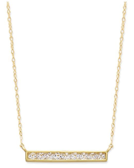 Macy's - Metallic Cubic Zirconia Pavé Bar Pendant Necklace In 10k Gold - Lyst