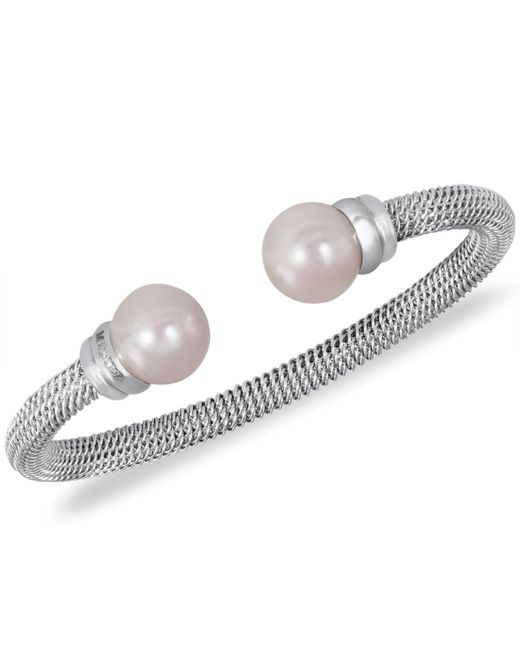 Majorica - Gray Stainless Steel Man-made Pearl Bangle Bracelet (10mm) - Lyst
