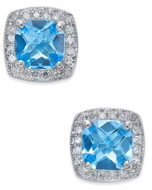 Macy's - Blue Topaz (2 Ct. T.w.) And Diamond (1/6 Ct. T.w.) Stud Earrings In 14k White Gold - Lyst