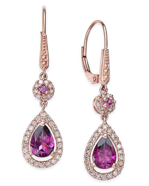 Macy's | Red Rhodolite Garnet (1-1/2 Ct. T.w.) And Diamond (1/3 Ct. T.w.) Drop Earrings In 14k Rose Gold | Lyst