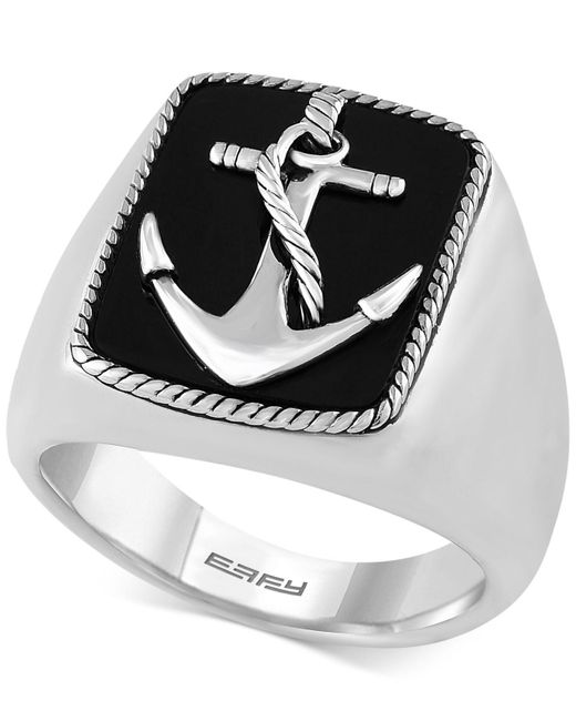 Effy Collection - Metallic Men's Onyx (8 X 6mm) Anchor Ring In Sterling Silver - Lyst