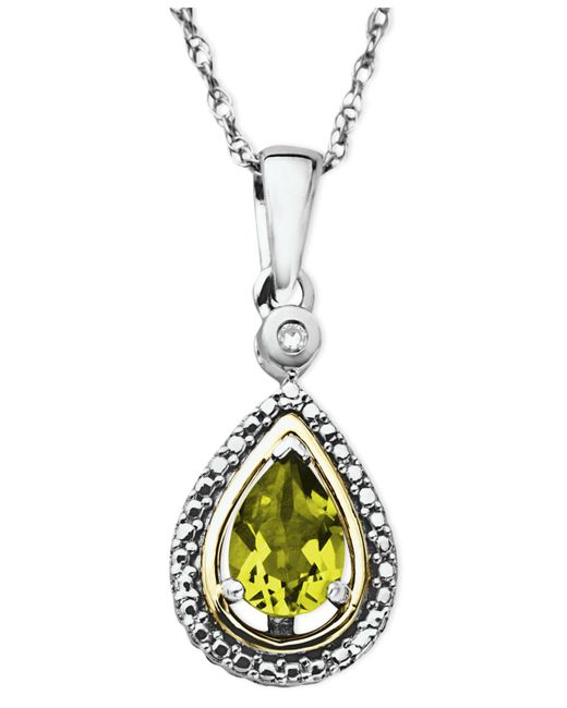 Macy's - Metallic 14k Gold And Sterling Silver Necklace, Peridot (3/4 Ct. T.w.) And Diamond Accent Teardrop Pendant - Lyst