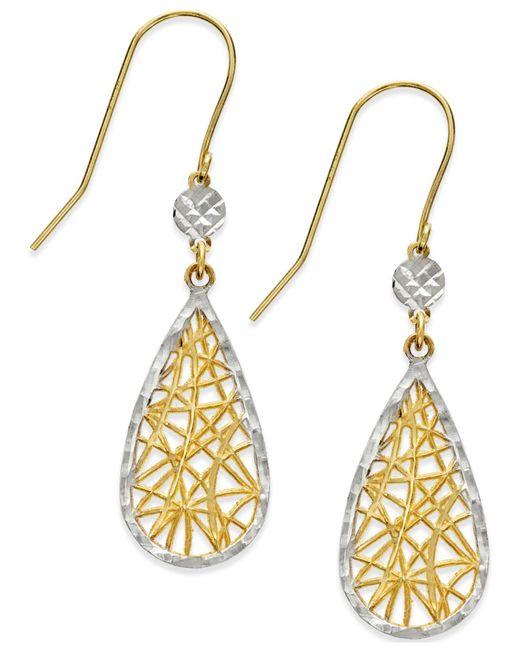 Macy's | Metallic Dreamcatcher Earrings In 10k Gold And White Rhodium | Lyst