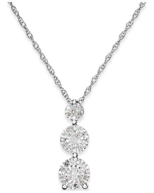 Macy's | Metallic Diamond Trio Pendant Necklace (1/5 Ct. T.w.) In Sterling Silver | Lyst
