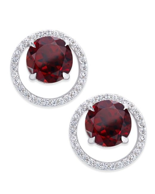 Macy's | Metallic Gemstone (1-1/2 Ct. T.w.) And Diamond (1/6 Ct. T.w.) Round Halo Birthstone Stud Earrings In Sterling Silver | Lyst