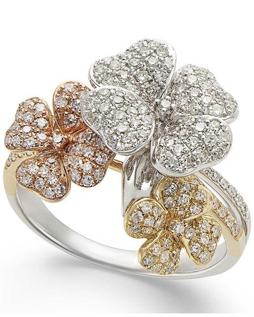 Effy Collection - Metallic Diamond Tri-tone Flower Ring In 14k Gold (5/8 Ct. T.w.) - Lyst