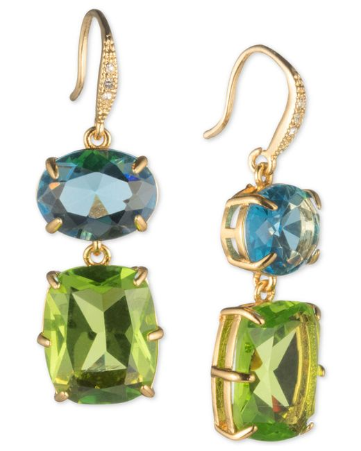 Carolee - Multicolor Gold-tone Stone Double Drop Earrings - Lyst