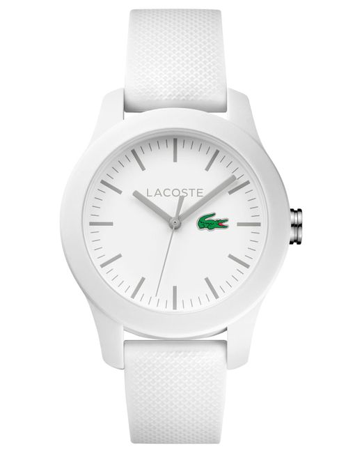 Lacoste - Women's 12.12 White Rubber Strap Watch 38mm 2000954 - Lyst