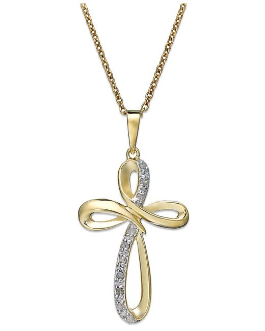 Macy's - Metallic Diamond Cross Pendant Necklace In 18k Gold Over Sterling Silver (1/10 Ct. T.w.) - Lyst