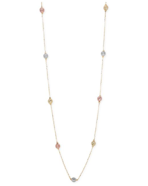 Macy's - Metallic Tri-tone Textured Bead Long Necklace In 14k Gold, White Gold And Rose Gold - Lyst