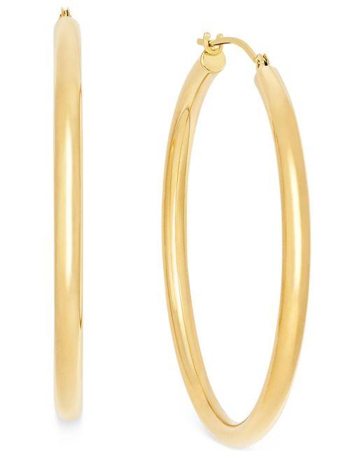 Macy's | Metallic Polished Hoop Earrings In 10k Gold | Lyst