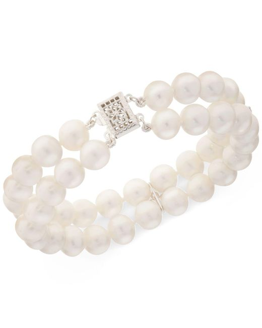 Macy's | Metallic Cultured Freshwater Pearl (8mm) & White Topaz (1/2 Ct. T.w.) Bracelet | Lyst