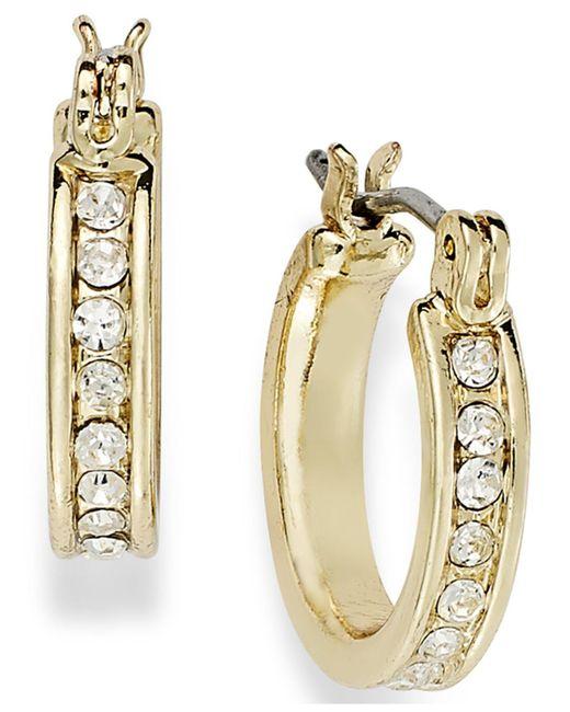 Charter Club - Metallic 14k Gold Plated Crystal Mini Hoop Earrings - Lyst