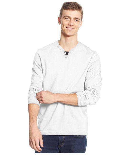 Alfani - White Leo Split Crewneck Shirt for Men - Lyst