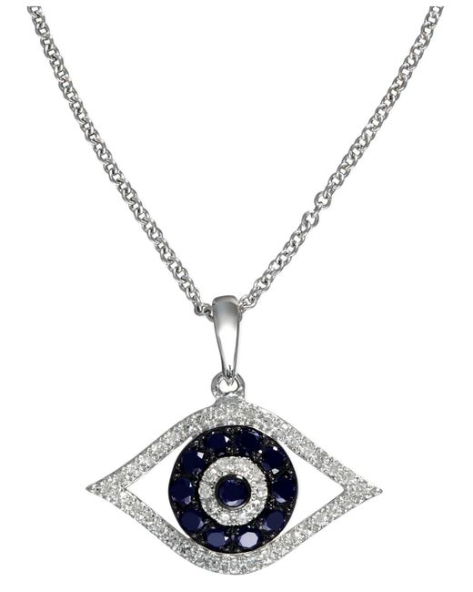 Effy Collection - Metallic Sapphire (1/4 Ct. T.w.) And Black And White Diamond (1/8 Ct. T.w.) Evil Eye Pendant In 14k White Gold - Lyst