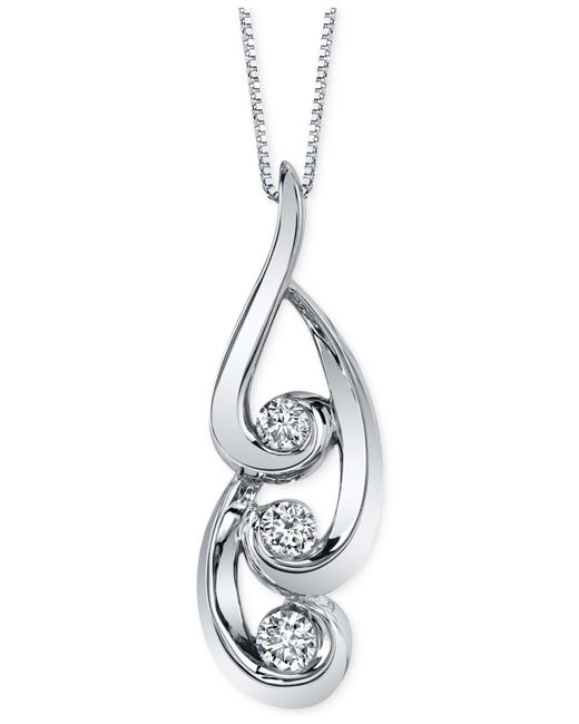 Sirena - Diamond Swirl Pendant Necklace (3/8 Ct. T.w.) In 14k White Gold - Lyst