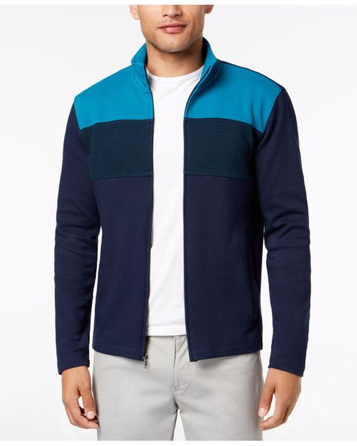 Alfani - Blue Colorblocked Full-zip Sweater Jacket, Created For Macy's for Men - Lyst