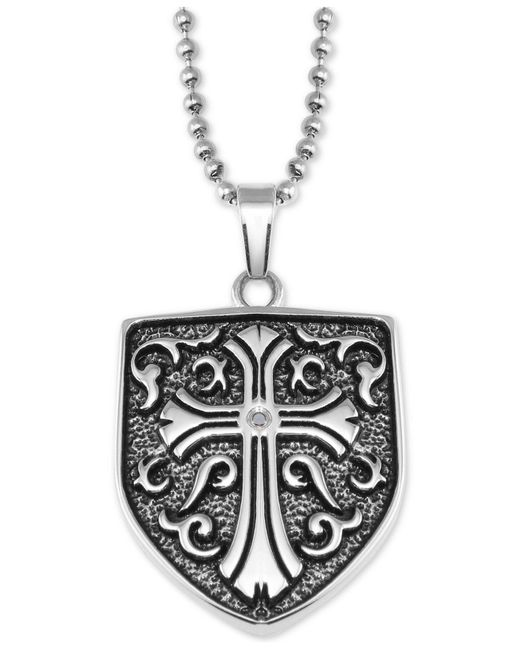 "Macy's - Metallic Cross Shield 24"" Pendant Necklace In Stainless Steel - Lyst"