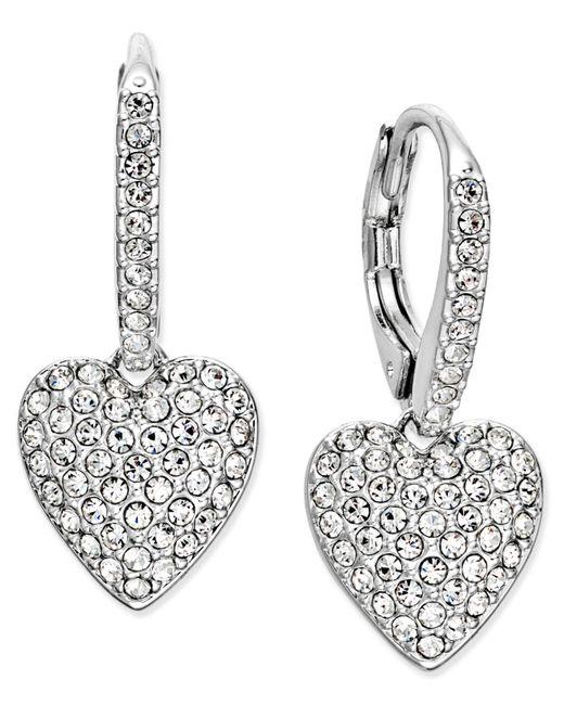 Danori - Metallic Silver-tone Pavé Heart Drop Earrings - Lyst
