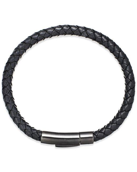Macy's - Black Men's Woven Leather Bracelet In Stainless Steel - Lyst