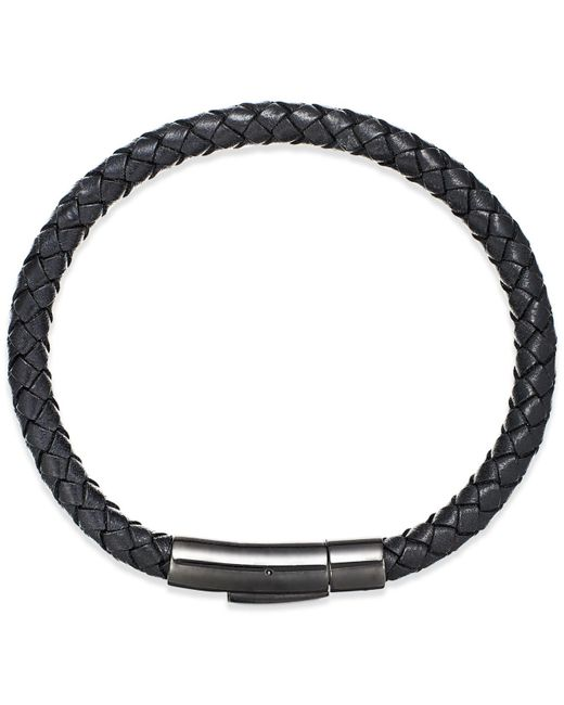 Macy's | Black Men's Woven Leather Bracelet In Stainless Steel for Men | Lyst