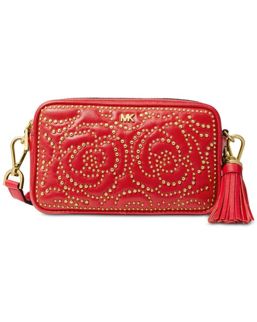 b51aa020f398 Michael Kors Small Rose Studded Leather Camera Bag in Red - Save 64 ...