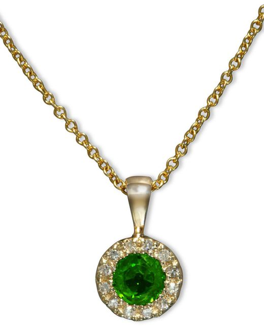 Effy Collection | Green Emerald (1/3 Ct. T.w.) And Diamond Accent Round Button Pendant In 14k Gold | Lyst