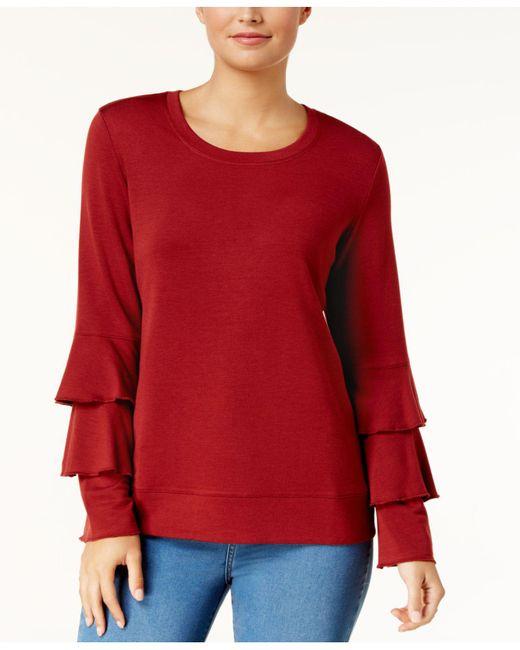 Style & Co.   Scoop-neck Tiered-sleeve Sweatshirt   Lyst
