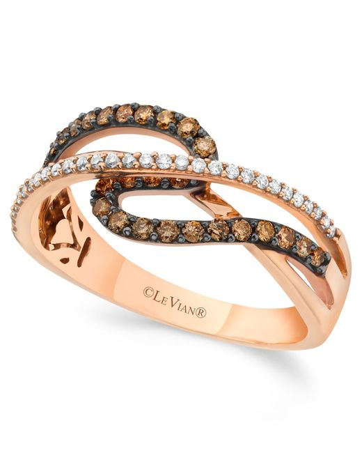 Le Vian | Brown Chocolate And White Diamond (3/8 Ct. T.w.) Ring In 14k Rose Gold | Lyst