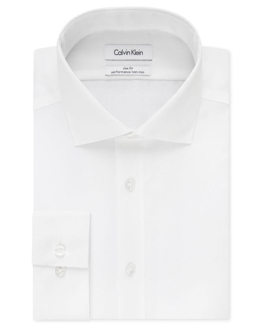 Calvin Klein | White Steel Men's Slim-fit Non-iron Performance Solid Dress Shirt for Men | Lyst