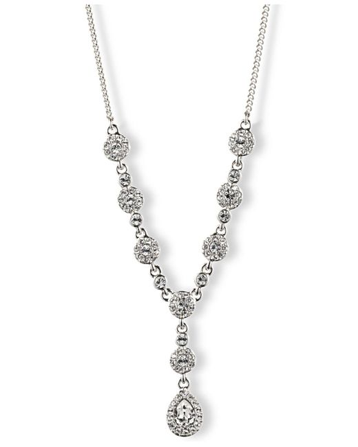 Givenchy - Metallic Silver-tone Crystal Y Necklace - Lyst