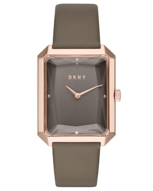 DKNY - Cityspire Gray Leather Strap Watch 27x34mm, Created For Macy's - Lyst