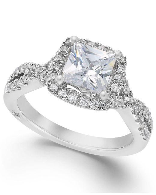 Marchesa | Certified Diamond Twist Shank Ring In 18k White Gold (1-1/2 Ct. T.w.) | Lyst