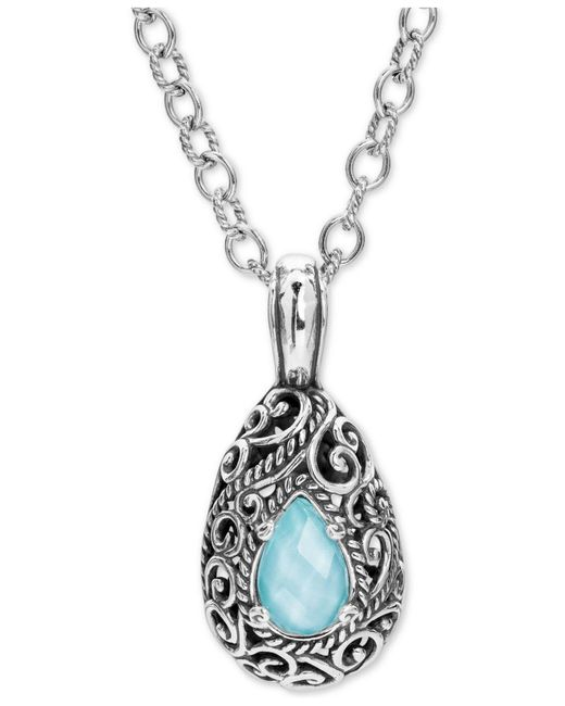"""Carolyn Pollack - Metallic Turquoise /rock Crystal Doublet 18"""" Pendant Necklace In Sterling Silver - Lyst"""