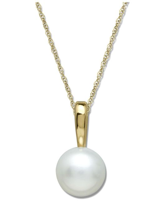 Macy's - Metallic Cultured Freshwater Pearl Pendant Necklace In 14k Gold (6mm) - Lyst