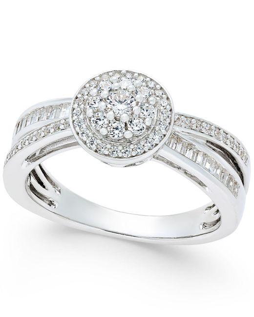 Macy's - Metallic Diamond Modern-style Ring (1/2 Ct. T.w.) In Sterling Silver - Lyst