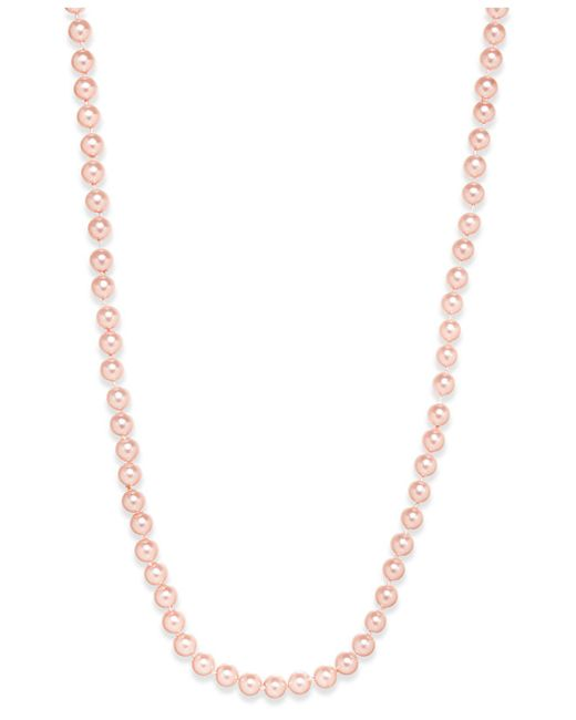 Charter Club - Silver-tone Pink Imitation Pearl (8mm) Strand Necklace, - Lyst