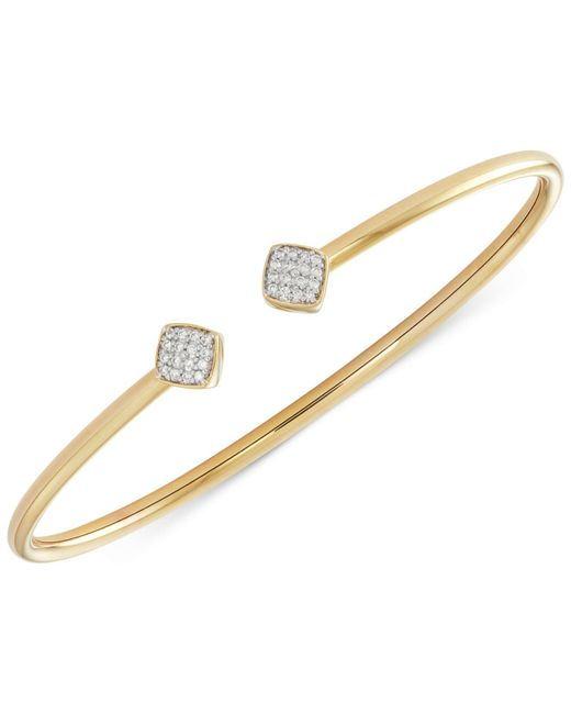 Wrapped in Love - Metallic Diamond Square And Flexy Bangle Bracelet (1/6 Ct. T.w.) In 14k Gold-plated Sterling Silver - Lyst