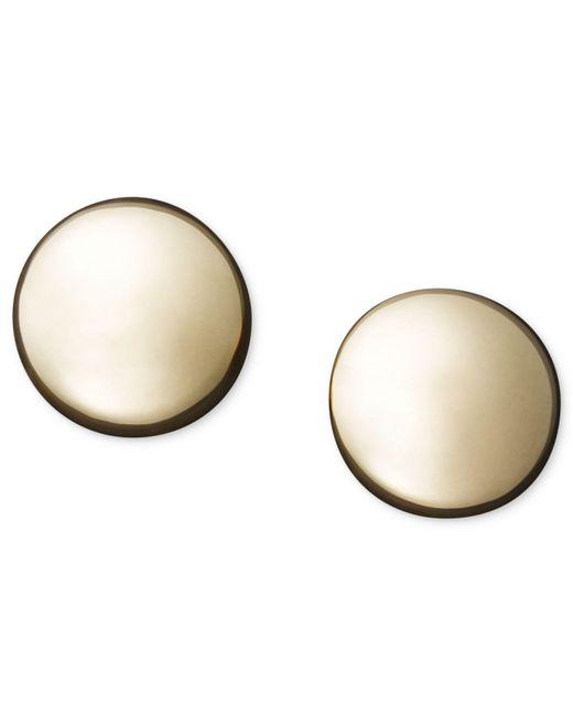 Macy's | Metallic 14k Gold Earrings, Flat Ball Stud (5mm) | Lyst
