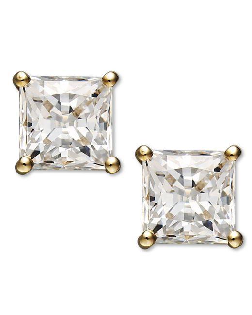 Arabella | Metallic 14k Gold Earrings, Swarovski Zirconia Princess Cut Stud Earrings (2-3/4 Ct. T.w.) | Lyst